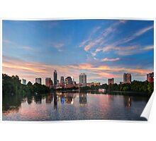 Austin Sunset Skyline Poster