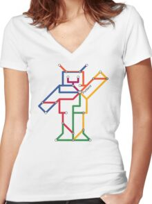 Robot: Portland Women's Fitted V-Neck T-Shirt