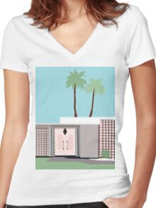 Palm Springs 1 Women's Fitted V-Neck T-Shirt