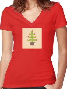 Christmas cactus tree. Retro christmas cactus tree design Women's Fitted V-Neck T-Shirt