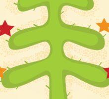 Christmas cactus tree. Retro christmas cactus tree design Sticker