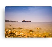 Anchored ship Canvas Print