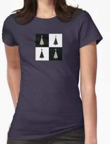 Black and white christmas trees. Geometric christmas trees in 2 colors Womens Fitted T-Shirt