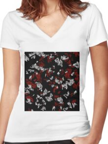 Red, white and black abstract art Women's Fitted V-Neck T-Shirt
