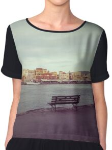 Chania old harbour Chiffon Top