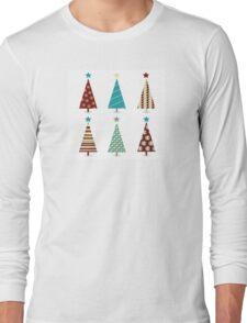 Blue - red christmas tree icon set. Retro christmas trees isolated on white Long Sleeve T-Shirt