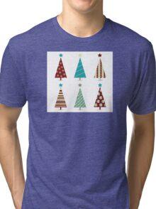 Blue - red christmas tree icon set. Retro christmas trees isolated on white Tri-blend T-Shirt