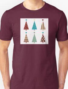 Blue - red christmas tree icon set. Retro christmas trees isolated on white Unisex T-Shirt