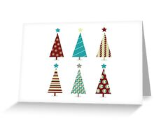 Blue - red christmas tree icon set. Retro christmas trees isolated on white Greeting Card