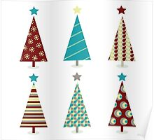 Blue - red christmas tree icon set. Retro christmas trees isolated on white Poster