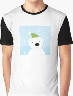 White polar bear on snow. Cute polar bear character with snowy background Graphic T-Shirt
