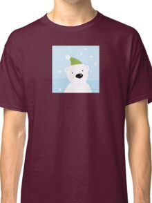 White polar bear on snow. Cute polar bear character with snowy background Classic T-Shirt