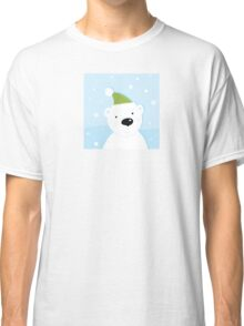 White polar bear on snow. Cute polar bear character with snowy background Classic T-Shirt