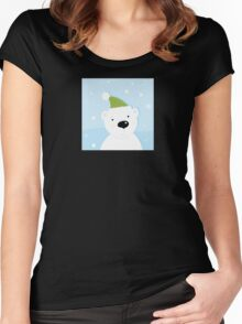White polar bear on snow. Cute polar bear character with snowy background Women's Fitted Scoop T-Shirt