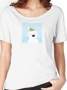 White polar bear on snow. Cute polar bear character with snowy background Women's Relaxed Fit T-Shirt
