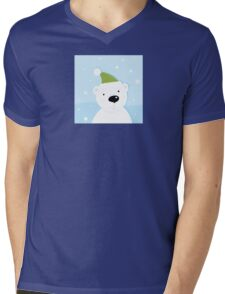 White polar bear on snow. Cute polar bear character with snowy background Mens V-Neck T-Shirt
