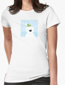 White polar bear on snow. Cute polar bear character with snowy background Womens Fitted T-Shirt