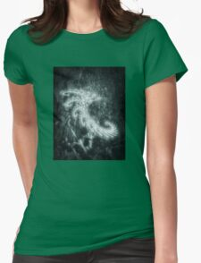 White Spiral Fractal Womens Fitted T-Shirt