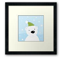 White polar bear on snow. Cute polar bear character with snowy background Framed Print