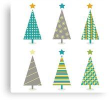 Retro christmas trees icon set. Retro christmas trees in retro design Canvas Print
