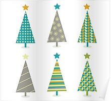 Retro christmas trees icon set. Retro christmas trees in retro design Poster