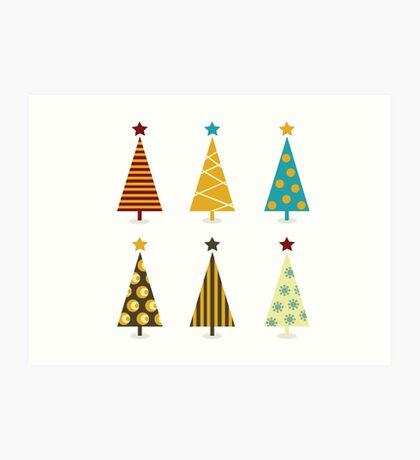 Retro christmas tree elements. Christmas trees design elements isolated on white Art Print