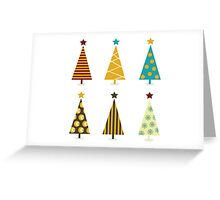 Retro christmas tree elements. Christmas trees design elements isolated on white Greeting Card