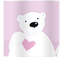 Polar bear with love heart. Cute polar bear character with pink heart Poster