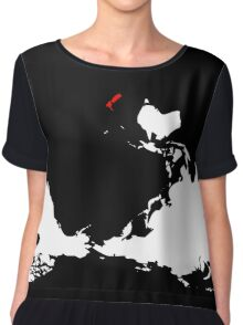 Upside Down World Map New Zealand Chiffon Top