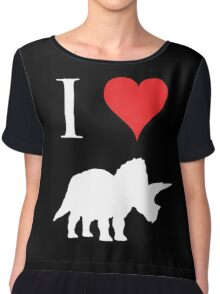I Love Dinosaurs - Triceratops (white design) Chiffon Top