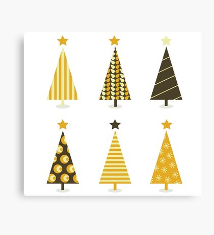 Retro christmas tree isolated on white. Six retro christmas trees on white background Canvas Print