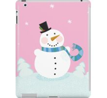 Christmas snowman on pink background. Cute snowman in christmas snowy nature. Vector cartoon illustration. iPad Case/Skin