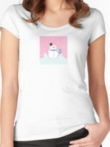 Christmas snowman on pink background. Cute snowman in christmas snowy nature. Vector cartoon illustration. Women's Fitted Scoop T-Shirt
