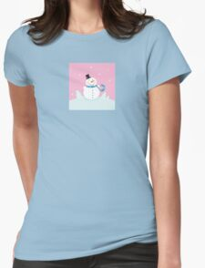Christmas snowman on pink background. Cute snowman in christmas snowy nature. Vector cartoon illustration. Womens Fitted T-Shirt