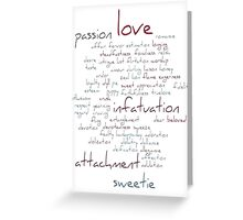 Valentine Love Word Cloud Greeting Card