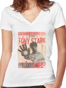 President Stark Women's Fitted V-Neck T-Shirt