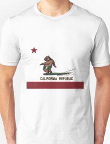 Surfing Bear California Flag Surf Style Unisex T-Shirt