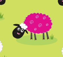 One pink sheep is lonely in the middle of white sheep family Sticker