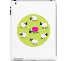 One pink sheep is lonely in the middle of white sheep family iPad Case/Skin