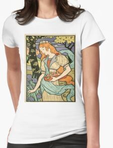 Vintage poster - Woman with flowers Womens Fitted T-Shirt