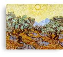 Van Gogh - Olive Trees with Yellow Sky and Sun Canvas Print