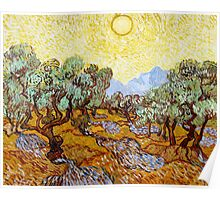 Van Gogh - Olive Trees with Yellow Sky and Sun Poster