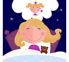 Small girl is sleeping and dreaming about princess Photographic Print
