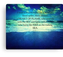 Rumi Heart of Flame quote Canvas Print
