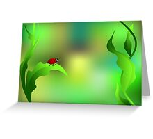 Ladybug sitting on a green leaf Greeting Card