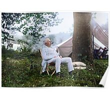 """Thomas Edison Relaxing on a """"Vagabonds"""" Camping Trip, 1921 Poster"""