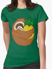 Pineapple Sloth Womens Fitted T-Shirt