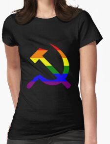 Gay Pride Rainbow Soviet Hammer And Sickle Womens Fitted T-Shirt