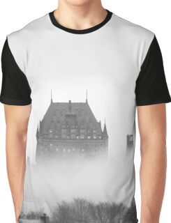 A Foggy Morning engulfs Chateau Frontenac Black and White Graphic T-Shirt