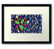 Barb Wire Pinwheel with Puppy Eye Framed Print